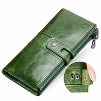 New Womens Wallet Leather Fashion Long Wallet Women First Layer Leather Purse