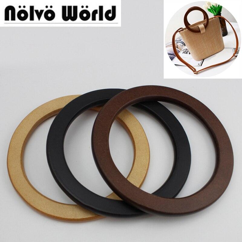 1 pair=2 pieces,biggest discount 14cm 3 colors wood flat edge round handle,change female bolsa bags circle wood round handles цены