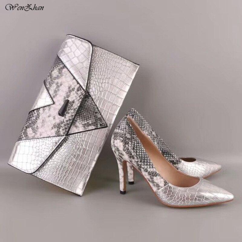 Обувь на высоких каблуках Щепка смешанные со змеиным принтом кожа 10 см Для женщин насосы с клатчем для любого случая WENZHAN бренд 86- 2