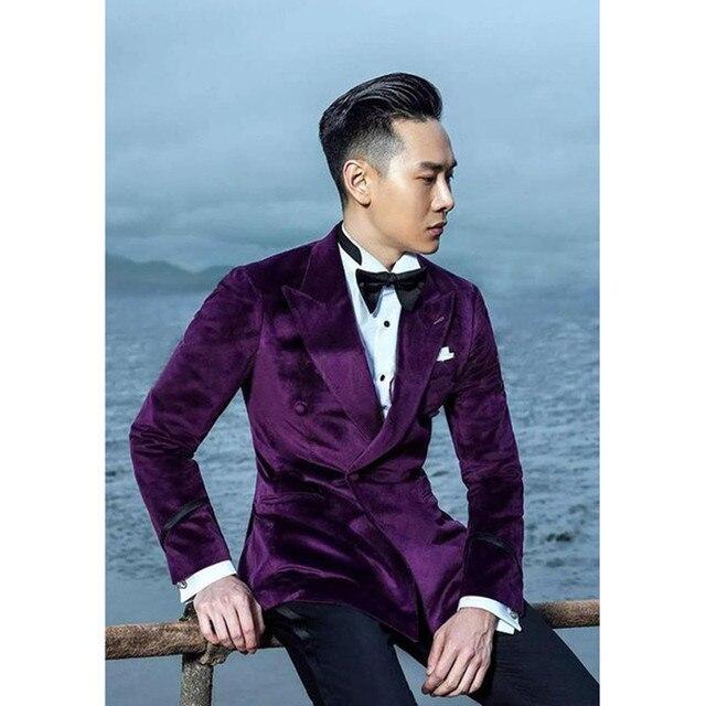 2017 Latest Coat Pant Designs Purple Velvet Men Suit Prom Jacket ...
