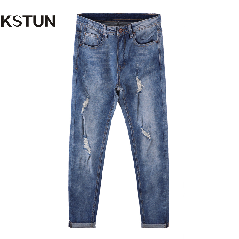 KSTUN Mens Jeans Ripped Light Blue Retro Stretch Broken Man Tapered Skinny Slim Fit Distressed Torn Distroyed Denim Casual Pants