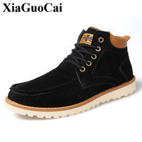 Autumn New Casual Shoes Men High Top Lace Up Flat Skate Shoes England Style Flock Cotton