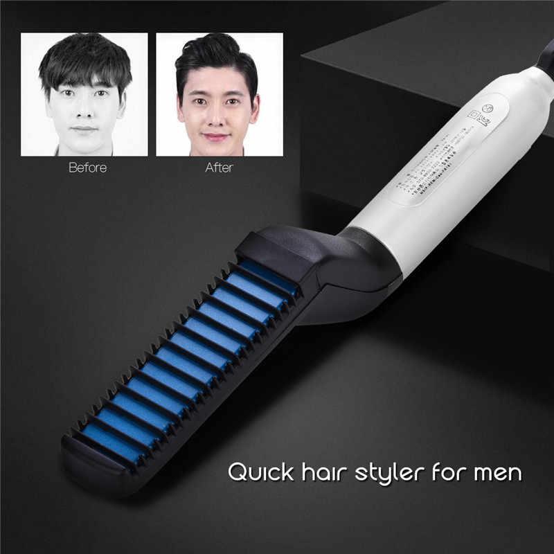 Прямая поставка для мужчин быстрый выпрямитель для бороды Styler Расческа щетка многофункциональная Плойка для завивки волос показ кепки инструменты для быстрого укладки
