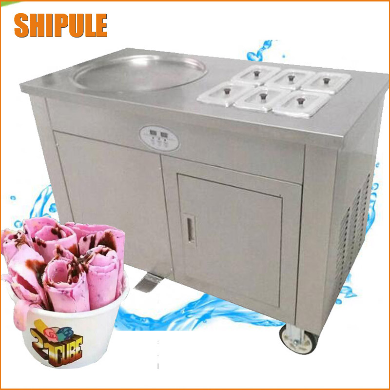 Fried Ice Cream single Pan commercial Ice Cream Roll Machine with 1 pan with 6 buckets ice cream machine цена и фото