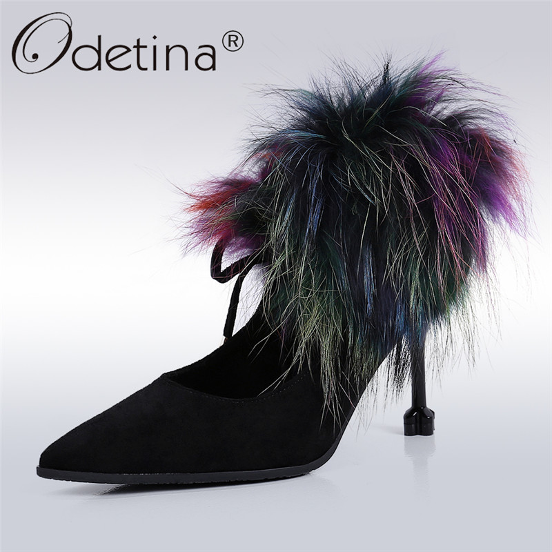 Odetina 2018 New Fashion Women High Heel Pumps Pointed Toe Stiletto Elegant Party Shoes Fur Strange Heels Lace Up Casual Ladies wholesale lttl new spring summer high heels shoes stiletto heel flock pointed toe sandals fashion ankle straps women party shoes
