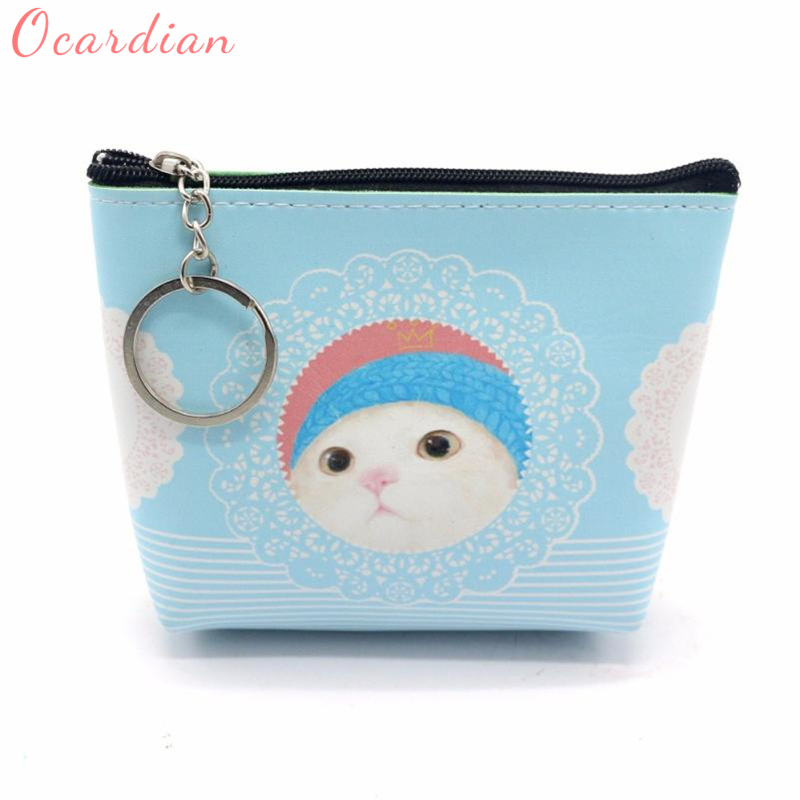 2018New Fashion Women Girls Lady Leather Small cute cat Wallet Coin Purse Clutch Bag Suit all style of clothes Best gifts C0126
