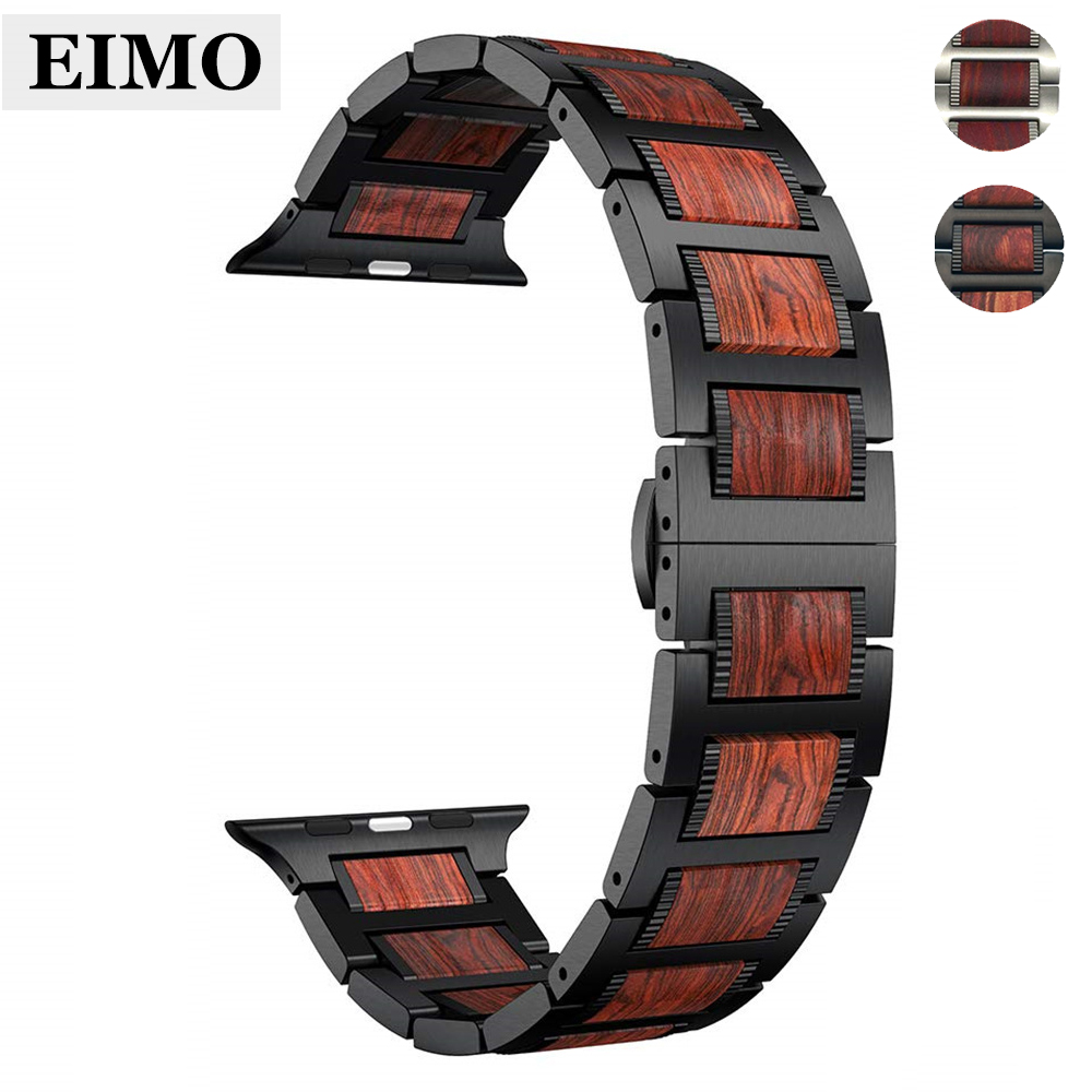 Wood strap For Apple watch band apple watch 4 44mm 40mm iWatch 3 42mm 38 mm bracelet Natural Red Sandalwood+Stainless steel bandWood strap For Apple watch band apple watch 4 44mm 40mm iWatch 3 42mm 38 mm bracelet Natural Red Sandalwood+Stainless steel band