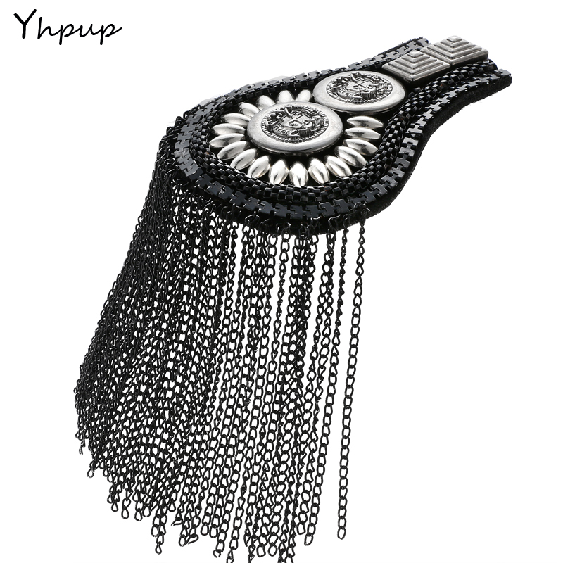 Yhpup England Punk Fashion Metal Tassel Vintage Epaulet Exaggerated Suit Shirt Shoulder Pin Jewelry цена