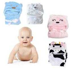 Удобный милый детский банный халат с милыми животными из мультфильмов, детское одеяло, детский банный халат с капюшоном, банное полотенце д...