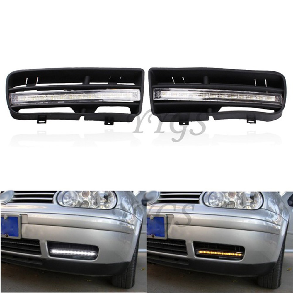 1 Pair LED DRL Daytime Running Turn Signal Lights With Grilles For VW Golf MK4 1998-2003 White & Amber Light screw extractor