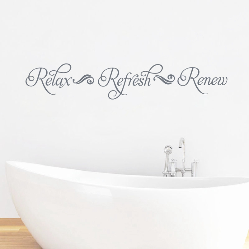 Relax Refresh Renew Bathroom Wall Art Decal Decor Bathroom Sign Viny Wall Sticker Decals For Spa Mural Art Wall Decoration Wall Stickers Aliexpress