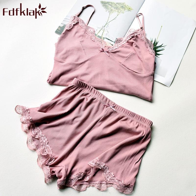 21b670d64dcf Fdfklak летние пижамы женские сексуальные хлопковые шорты женская одежда  для сна Пижамный костюм Повседневная Домашняя одежда пижамный компл.