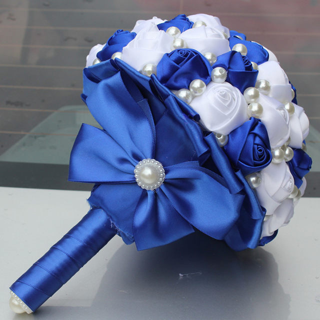 Online shop pop new royal blue white color pearls beaded bridal pop new royal blue white color pearls beaded bridal wedding bouquets simple durable half ball bow stitch holding flowers w322 5 mightylinksfo