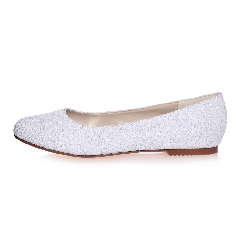 Creativesugar Special touching 3D glitter closed toe flats white woman  Casual wedding bridal party prom comfortable shoes slipon-in Women s Flats  from Shoes ... 7217d41350d3
