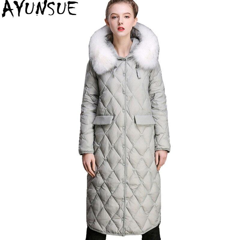 AYUNSUE 2018 Для женщин Зимняя куртка пуховик натуральным лисьим меховой воротник длинные теплые Белое пуховое пальто Для женщин куртки winterjas