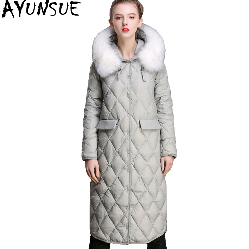 AYUNSUE 2018 Women Winter   Down   Jacket Real Fox Fur Collar Long Warm White Duck   Down     Coat   Women's Jackets winterjas vrouwen YQ888