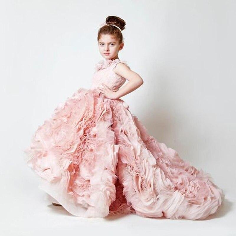 Hot Grace fleur fille robes bleu rose Champagne luxe sans manches Expansion volants fleurs petites filles Pageant Tulle robes