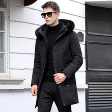 2018 New Men's Winter Jacket Solid Large Real Fox Fur Collar Hooded Warm 90% White Duck Down Jacket Men Snow Outwear -30C CO134