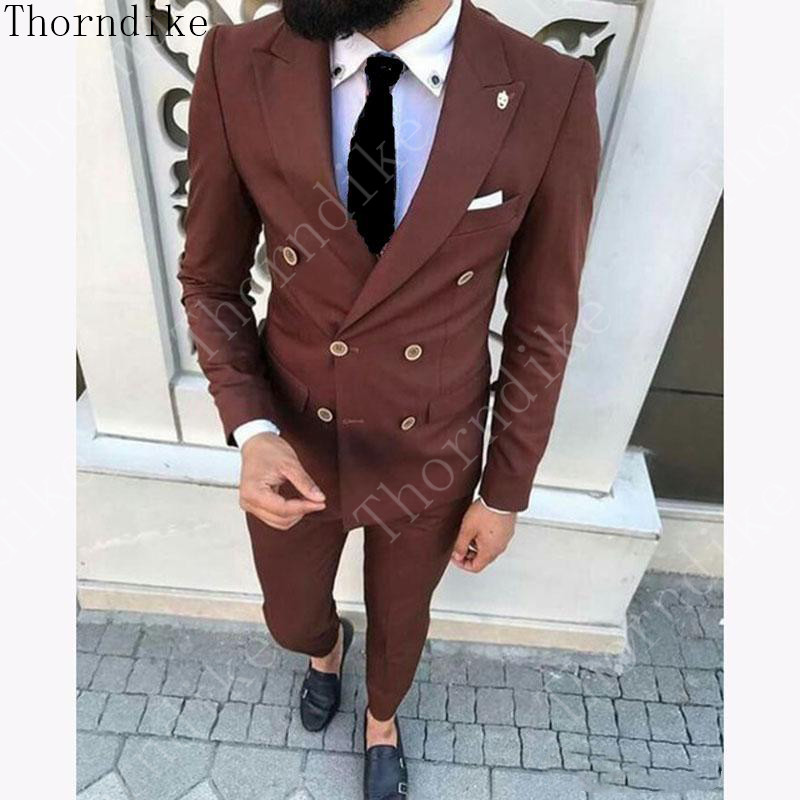 Thorndike Peaked Lapel Double Breasted Groom Groomsmen Tuxedos Brown Men Suits for Wedding/Prom/Dinner Best Man Blazer Pants(China)