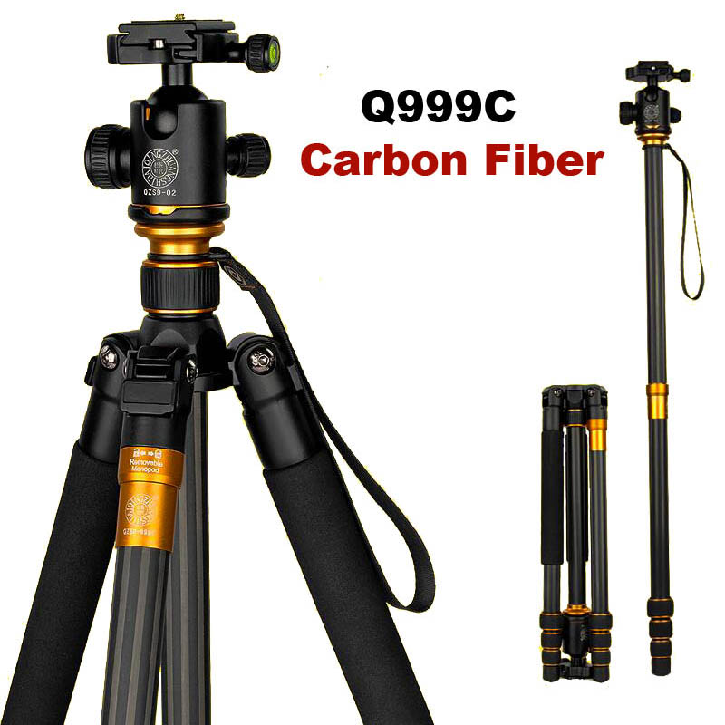 Original QZSD Q999C Professional Carbon Fiber DSLR Camera Tripod Monopod Ball Head Portable Photo Camera Stand