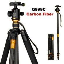 Oryginalny QZSD Q999C Profesjonalne Włókna Węglowego DSLR Camera Tripod Monopod + Głowica kulowa/Przenośny Aparat Fotograficzny Stoiska/Lepiej niż Q999