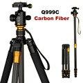 Original QZSD Q999C profissional fibra de carbono DSLR Camera tripé monopé + bola cabeça / portátil Photo Camera Stand / melhor do que Q999