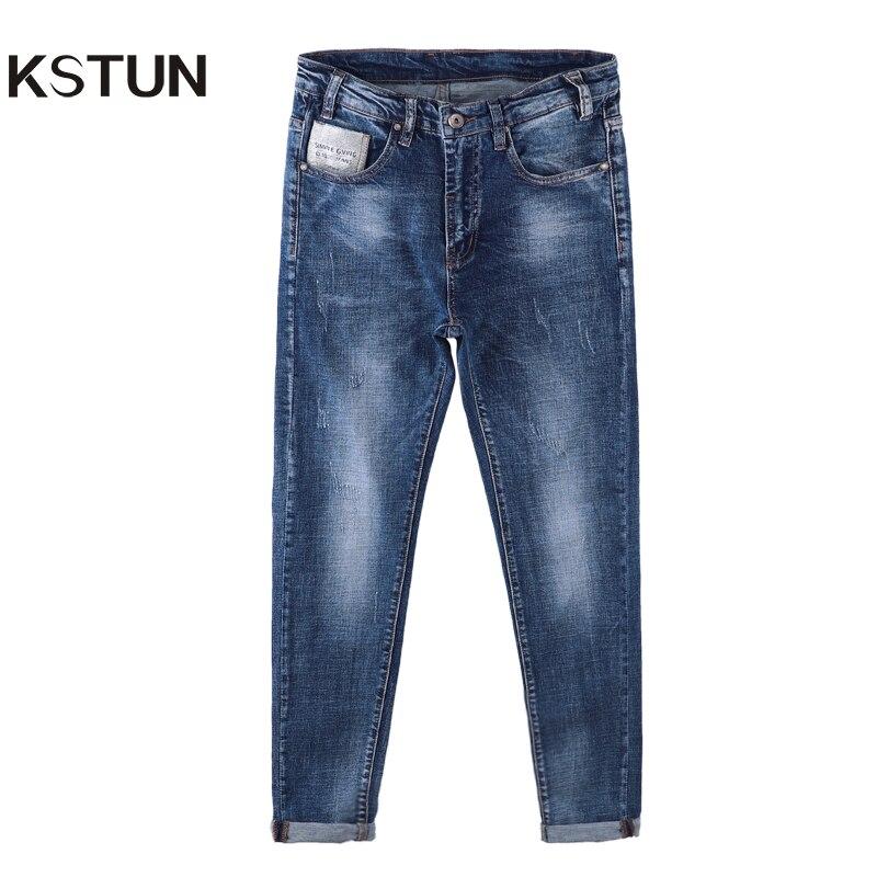KSTUN New Arrivals Men Jeans Slim Fit Casual Blue Mid Waist Pockets Design Cotton Stretch Yong Man Quality Frand Denim Pants 36 блуза jacqueline de yong jacqueline de yong ja908ewujb68