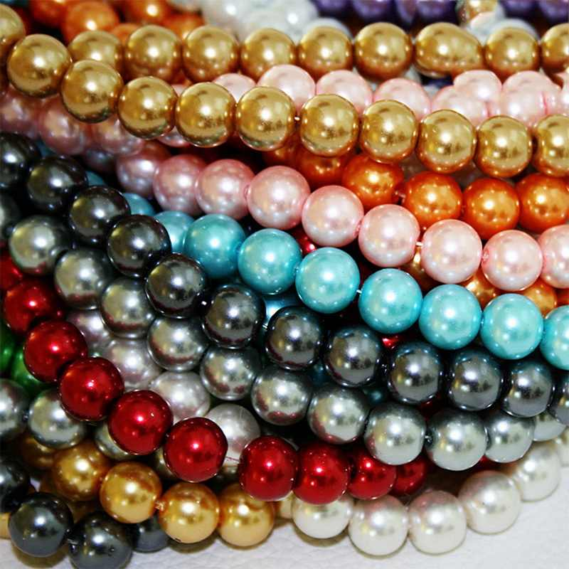 Mixed Colour Round Glass Pearl Loose Beads 10mm Spacer Fit Jewelry Gemstone purple pink and white