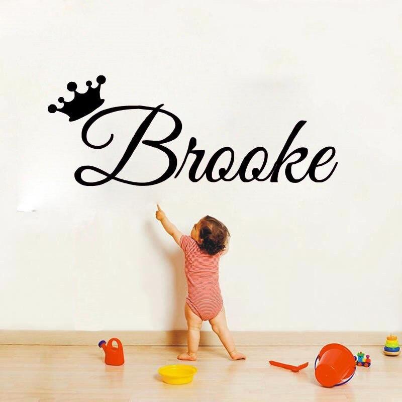 Prinzessin Mädchen Personalisierte Namen Vinyl Wandaufkleber Schlafzimmer Aufkleber Für Baby Mädchen Crown Name Benutzerdefinierte Baby Schlafzimmer