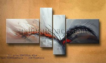 4 pieces Modern Abstract Wall art decorative hand painted Black And Red oil paintings On Canvas For Home Living Room Decor