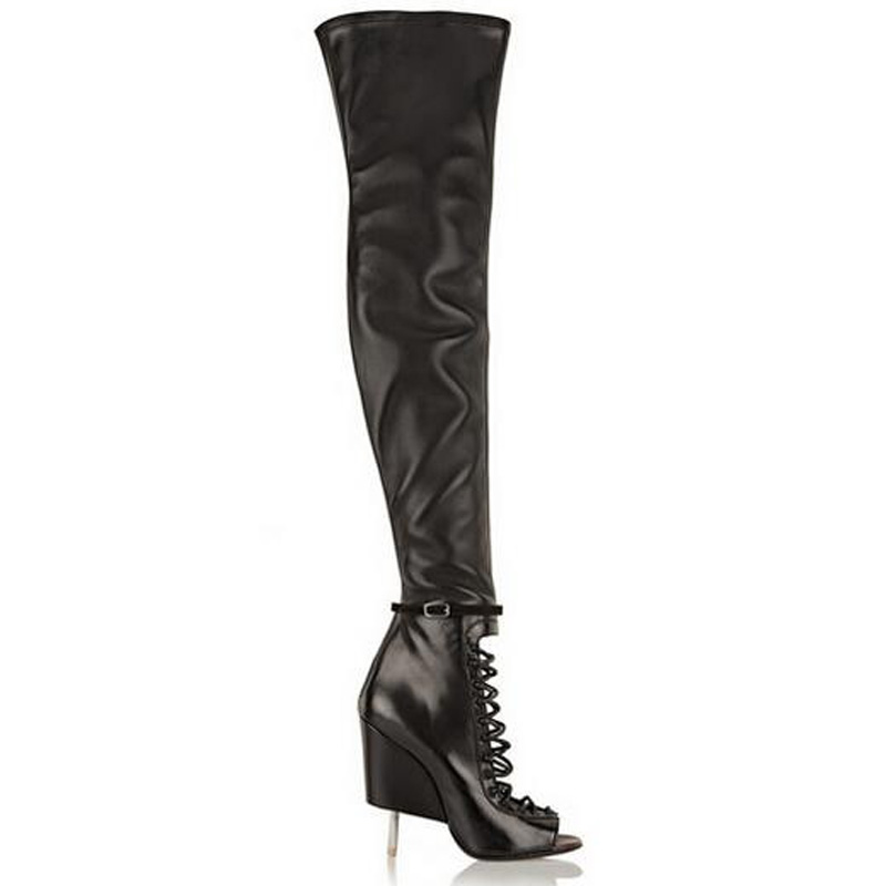Women Summer Ankle Buckle Strap Over the Knee Boots Peep Toe Cut-Outs Back Zipper Thigh High Strange Style Stiletto Heel Boots summer cut outs gladiator sandals boots women sexy peep toe over knee boots high heels thigh high sandal boots