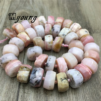 Faceted Genuine Pink Opal Wheel Space Beads,Natural Gems Power Stone Loose Beads For DIY Jewelry MY2060