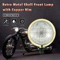 H4 5-inch Flexible Motorcycle Retro Headlight Front headlamp cool motorcycle fog lights waterproof motorbike with Copper Rim