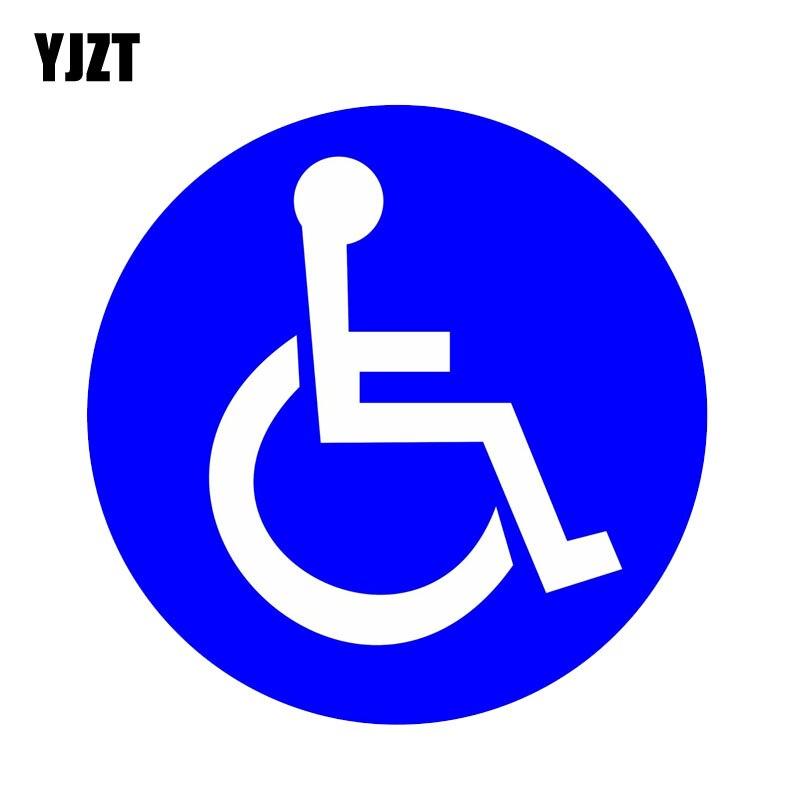 YJZT 13CM*13CM Disabled Wheelchair Handicap Round PVC Fashion Car Sticker Decal 11-00079