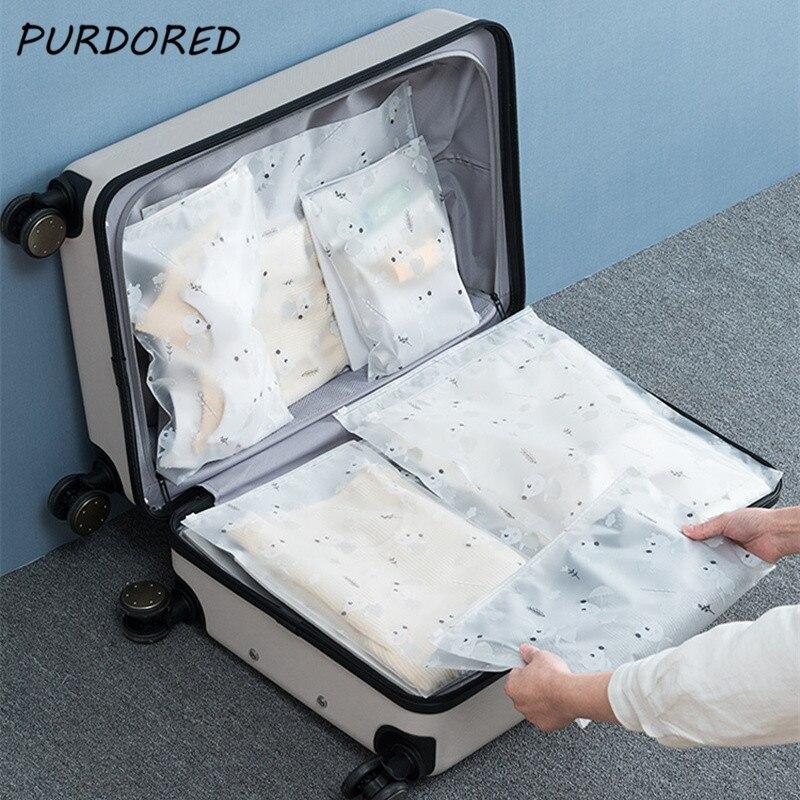 PURDORED 5 Pcs/set Cute Animal Storage Bag Waterproof Clear Travel Bag Clothing Underwear Cosmetic Bag Organizer Dropshipping