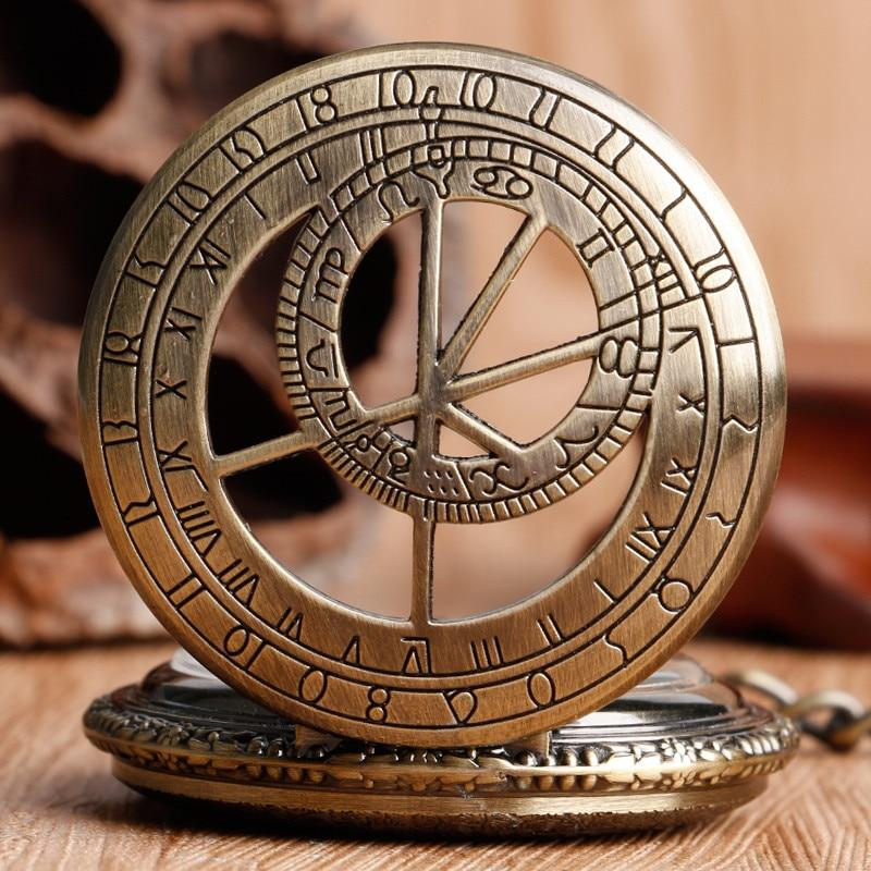 Bronce antiguo Hollow Doctor Who Zodiac Constellation Retro número - Relojes de bolsillo - foto 3