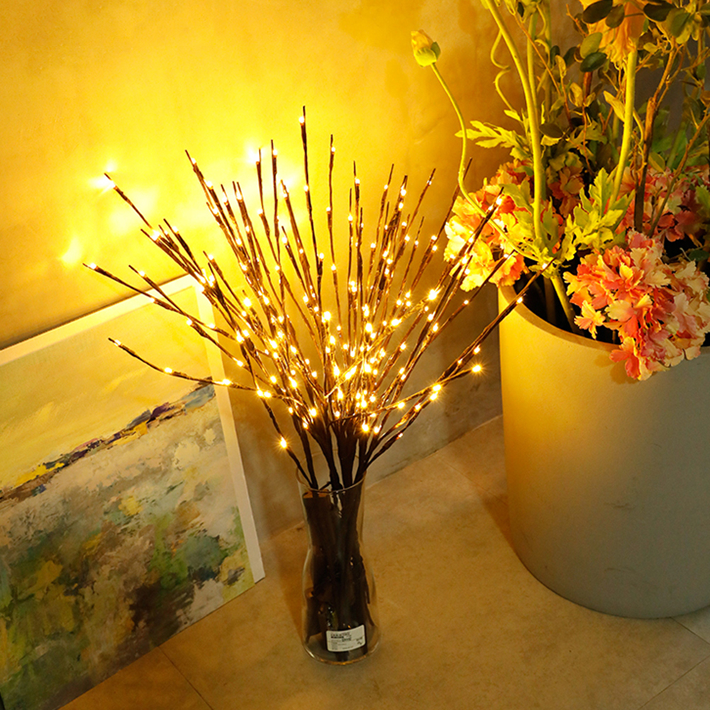 20 Bulbs LED Willow Branch Lamp Floral Lights Home Bedroom Christmas Party Layout Garden Decor Creative Small Night Light
