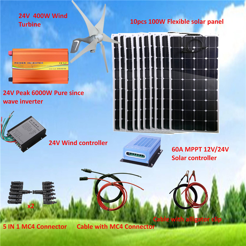 1400W Hybrid System Kit: 400W Wind Turbine & 10*100W Flexible solar panel+ Peak 6000W Pure Since Wave Inverter+Accessories image