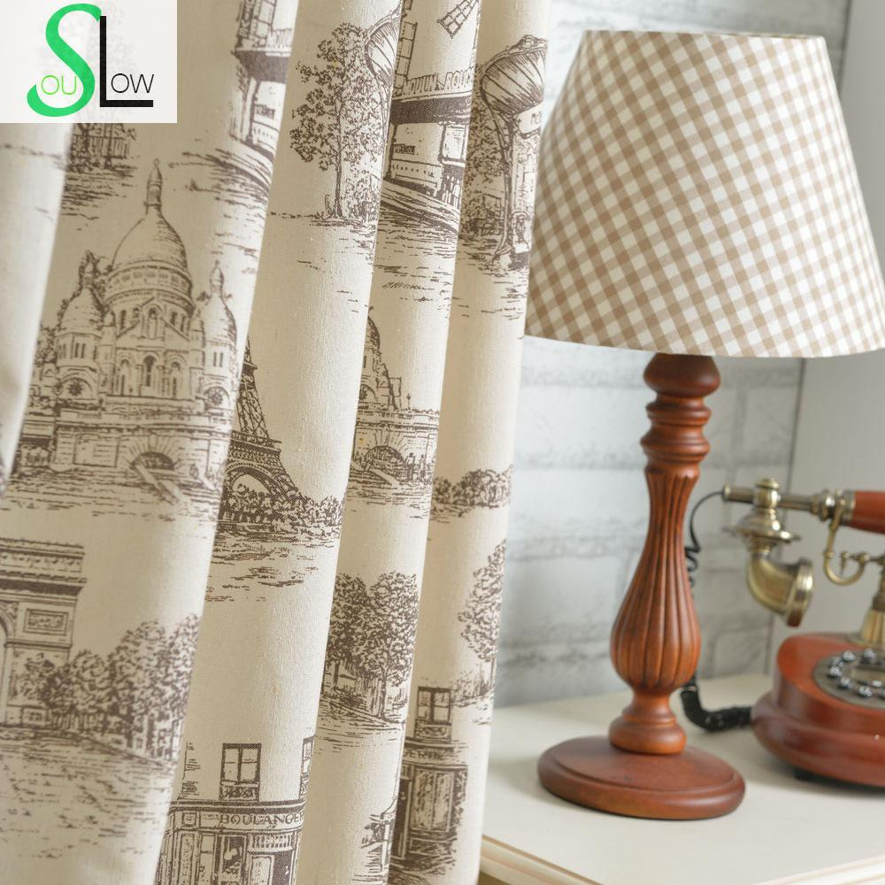 Impressão Têxtil Tecidos Série Cortina Esboço Europeu Decorativo Cortinas Cortinas Para Sala de estar Cortina de Cozinha Crianças