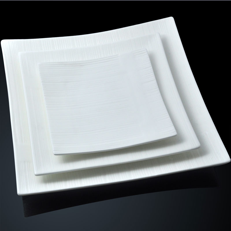 Home And Kitchen Stores St Charles Steel Cabinets Thick Ceramic Square Plate Of Pure White ...