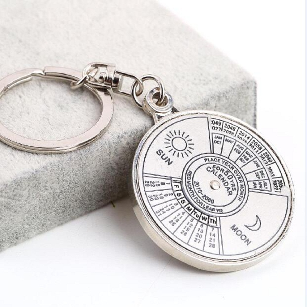 Novelty ornaments - Perpetual Calendar Keyring Keychain Unique Metal Keys Chain Ring Fobs Trinket Ornament Accessories 50 Year Novelty Fashi Jewelry