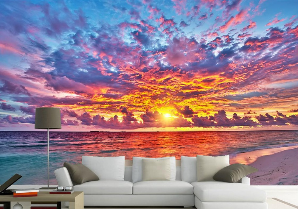 Custom Sunset Fire Cloud Beautiful Tv Background Wall Nonwoven