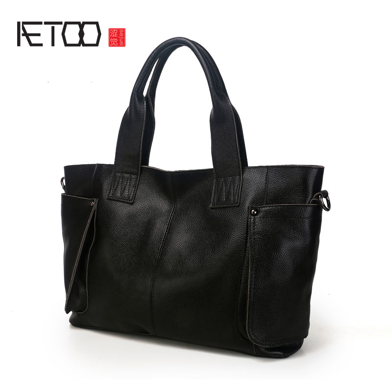 AETOO Europe and the United States fashionable women's bag new leather ladies handbag large capacity diagonal shoulder bag aetoo leather new handbags europe and the united states fashion simple handbag head layer of cowhide diagonal shoulder bag handb