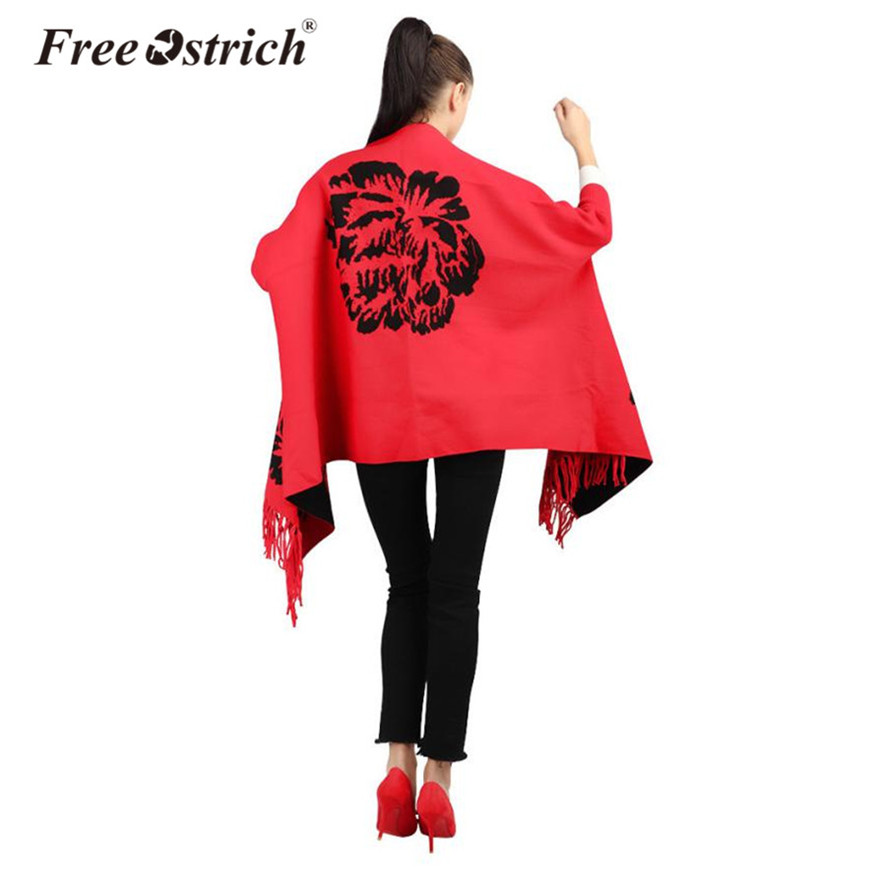 Free Ostrich Winter Scarves Cape Women Floral Print Knitted Cardigan Tassel Poncho Batwing Sleeve High Quality Outwear Scarf