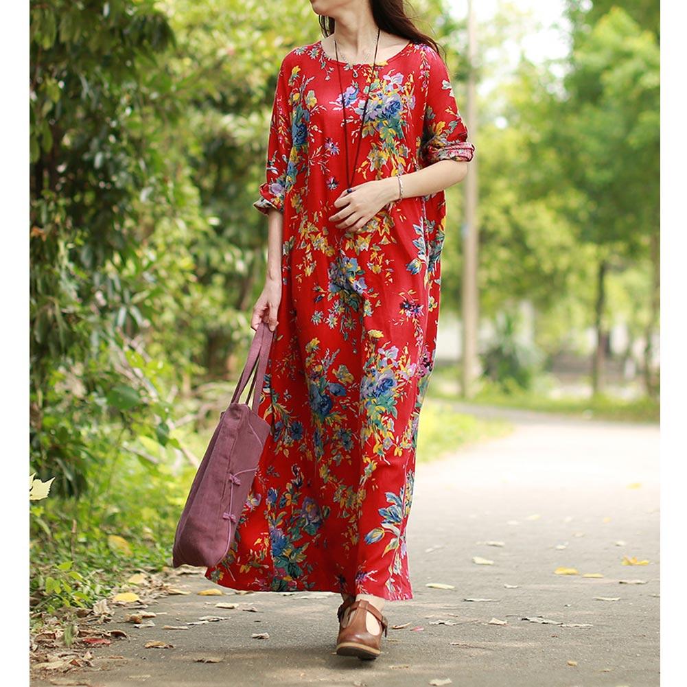 EaseHut 19 New Vintage Women Maxi Floral Dress Plus Size Long Sleeves Pockets O Neck Cotton Linen Loose Robe Dresses vestidos 8