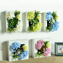 Plastic flowers with Wood frame Fashion simulation plant three – dimensional flower for wedding background ornaments for wall