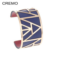 Cremo Egypt Pyramid Stainless Steel Bracelet Femme Manchette Bangle 40mm Reversible Leather Band Wide Bracelets Bangles Arm Cuff(China)