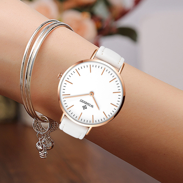 c7cb473da76 2018 WISHDOIT Marca Top Vestido Moda Relógios de Quartzo Das Senhoras  Relógios Das Mulheres do Relógio