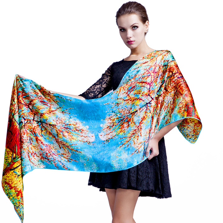 New high quality 100% real silk satin long   scarf     wrap   shawl hijab for women ladies luxury foulard   scarves   175x52CM