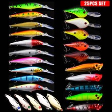 NEW 25pcs Hard Bait Minnow Fishing lures Bass Fresh Salt water japan sea 3D Eyes Wobbler Tackle Crankbait Pesca Baits kit set